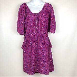 EUC Rebecca Taylor silk purple peplum zipper dress